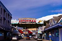 "Ketchikan sign ""Welcome to Alaska's First City, The Salmon Capital of the World"", Ketchikan, Southeast Alaska USA"