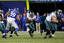 Philadelphia Eagles FB Leonard Weaver #43 carries the ball during the NFL game between the Philadelphia Eagles and the New York Giants on December 13th 2009. The Eagles won 45-38 at Giants Stadium in East Rutherford, New Jersey. (Photo By Brian Garfinkel)