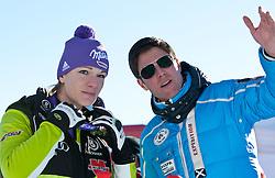 22.01.2011, Tofana, Cortina d Ampezzo, ITA, FIS World Cup Ski Alpin, Lady, Cortina, Abfahrt, im Bild Maria Riesch (GER, #18, Platz 1) mit ihrem Manager und Verlobten Markus Höfel // Maria Riesch (GER, place 1) and and her manager and boyfrind Marcus Hoefl during FIS Ski Worldcup ladies Downhill at pista Tofana in Cortina d Ampezzo, Italy on 22/1/2011. EXPA Pictures © 2011, PhotoCredit: EXPA/ J. Groder