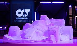 14.02.2020, Hangar 7, Salzburg, AUT, FIA, Formel 1, AlphaTauri Auto Präsentation, im Bild das verhüllte Scuderia AlphaTauri Formel-1-Auto AT01 // Scuderia AlphaTauri Formula one car AT01 during the FIA formula 1 car presentation of the team AlphaTauri at the Hangar 7 in Salzburg, Austria on 2020/02/14. EXPA Pictures © 2020, PhotoCredit: EXPA/ Johann Groder