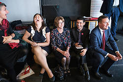 © Licensed to London News Pictures . 23/09/2018. Liverpool, UK. L-R Rabbi LAURA JANNER-KLAUSNER , LUCIANA BERGER MP , LOUISE ELLMAN MP , ALEX SOBEL MP and WES STREETING MP at a rally by The Jewish Labour Movement at The Liverpool Pub in central Liverpool during the first day of the 2018 Labour Party Conference . Photo credit: Joel Goodman/LNP
