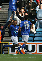 Photo: Rich Eaton.<br /> <br /> Millwall v Swindon Town. Coca Cola League 1. 29/09/2007. Millwall's Jay Simpson (L) celebrates after equalizing at 1-1.