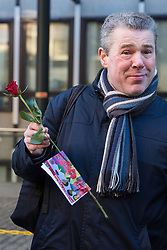 London, UK. 14th February, 2019. Mark Serwotka, General Secretary of the Public & Commercial Services (PCS) union, shows solidarity on a Valentine's Day-themed picket line outside the Department of Business, Energy and Industrial Strategy (BEIS) with outsourced support staff taking strike action to demand the London Living Wage and an end to outsourcing.