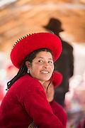 Quechua woman wearing traditional dress, Chinchero Town Sunday Market, Cusco region, Peru, South America
