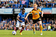 Portsmouth Midfielder, Stanley Aborah (29) and Cambridge United Midfielder, Liam O'Neil (16) during the EFL Sky Bet League 2 match between Portsmouth and Cambridge United at Fratton Park, Portsmouth, England on 22 April 2017. Photo by Adam Rivers.
