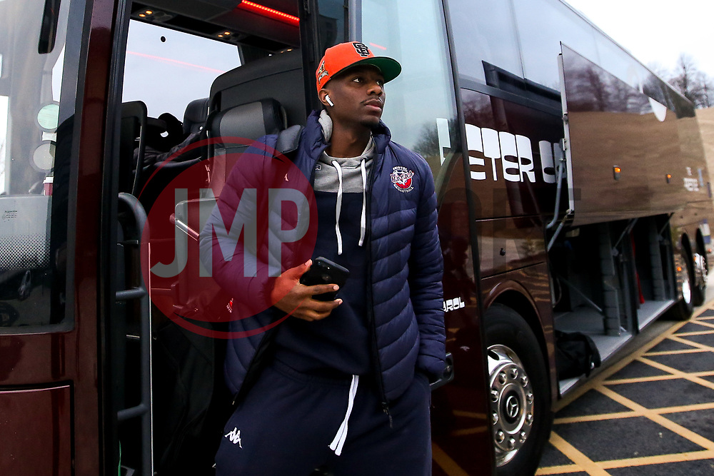 Jalan McCloud of Bristol Flyers arrives at the Eagles Community Arena, for the BBL fixture against Newcastle Eagles - Photo mandatory by-line: Robbie Stephenson/JMP - 01/03/2019 - BASKETBALL - Eagles Community Arena - Newcastle upon Tyne, England - Newcastle Eagles v Bristol Flyers - British Basketball League Championship