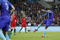 (L-R) Cristiano Ronaldo of Portugal, Virgil van Dijk of Holland 0-3 during the International friendly match match between Portugal and The Netherlands at Stade de Genève on March 26, 2018 in Geneva, Switzerland