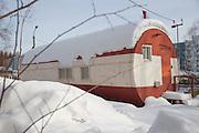 Temporary housing for builders during the construction on the BAM (Baikal-Amur Mainline) Railway.Tynda Museum. Tynda, Siberia.Russia