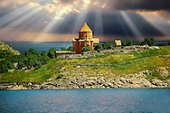 10th century Armenian Orthodox Cathedral of the Holy Cross on Akdamar Island, Lake Van Turkey 52 .<br /> <br /> If you prefer to buy from our ALAMY PHOTO LIBRARY  Collection visit : https://www.alamy.com/portfolio/paul-williams-funkystock/lakevanturkey.html<br /> <br /> Visit our TURKEY PHOTO COLLECTIONS for more photos to download or buy as wall art prints https://funkystock.photoshelter.com/gallery-collection/3f-Pictures-of-Turkey-Turkey-Photos-Images-Fotos/C0000U.hJWkZxAbg