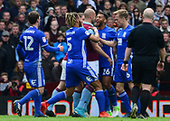 Alan Hutton of Adton Villa conflicts with David Davis of Birmingham city . EFL Skybet championship match, Aston Villa v Birmingham city at Villa Park in Birmingham, The Midlands on Sunday 23rd April 2017.<br /> pic by Bradley Collyer, Andrew Orchard sports photography.
