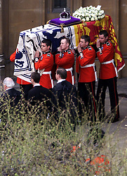 File photo dated 09/04/02 of the Queen Mother's Coffin being carried from Westminister Hall, London, to Westminster Abbey for her Funeral. The Queen mother's funeral was the last royal funeral to be extensively televised in the UK. Issue date: Friday April 16, 2021.