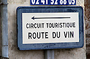 Road sign: The wine road, Route du Vin. Fontevraud, Anjou, Loire, France