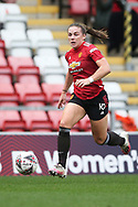 Manchester United midfielder Kirsty Hanson (18) Portrait full length during the FA Women's Super League match between Manchester United Women and Manchester City Women at Leigh Sports Village, Leigh, United Kingdom on 14 November 2020.