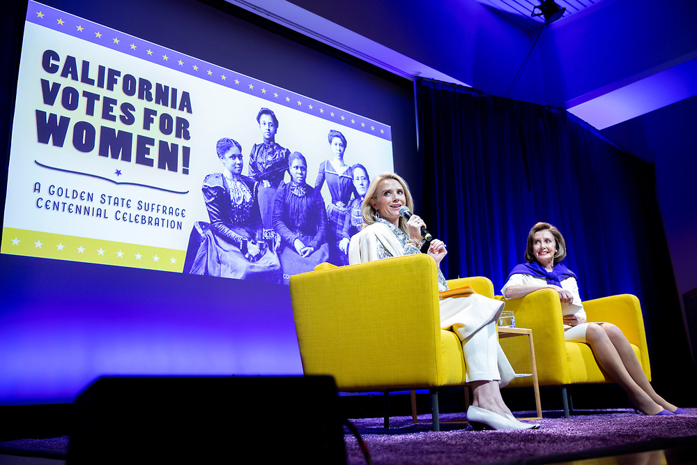"""From left: First partner Jennifer Siebel Newsom moderating a talk with Speaker of the House Nancy Pelosi (D-Calif.) during """"California Votes for Women: A Golden State Suffrage Celebration,"""" an event at the California Museum on Saturday, Nov. 9, 2019, in Sacramento, Calif."""