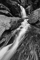 Wide angle view of Bingham Falls in the Mt. Mansfield State Forest near Stowe Resort, Stowe, Vermont