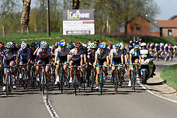 The peloton split into smaller bunches as the climbs take their toll on the second lap - Flèche Wallonne Femmes - a 137km road race from starting and finishing in Huy on April 20, 2016 in Liege, Belgium.