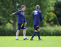 Bristol Rovers assistant manager, Darrell Clarke talks with Bristol Rovers Manager, John Ward - Photo mandatory by-line: Joe Meredith/JMP - Tel: Mobile: 07966 386802 24/06/2013 - SPORT - FOOTBALL - Bristol -  Bristol Rovers - Pre Season Training - Npower League Two