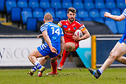 London Broncos centre Elliot Kear (1) on his way to scoring a try during the Betfred Championship match between Halifax RLFC and London Broncos at the MBi Shay Stadium, Halifax, United Kingdom on 8 April 2018. Picture by Simon Davies.
