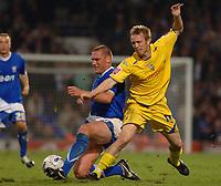Photo: Ashley Pickering.<br />Ipswich Town v Preston North End. Coca Cola Championship. 17/10/2006.<br />Ipswich's Jason De Vos and Preston's Brett Ormerod