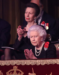 Queen Elizabeth II and the Princess Royal during the annual Royal British Legion Festival of Remembrance at the Royal Albert Hall in London, which commemorates and honours all those who have lost their lives in conflicts.