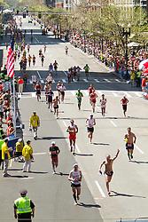runners on final stretch at Boston Marathon