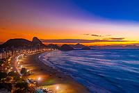 Overview of Avenida Atlantica and Copacabana Beach predawn, Rio de Janeiro, Brazil.