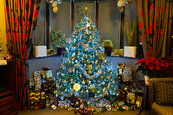 Presents lie under the silver and gold decorated tree in the sitting room of Geoff Stonebanks, 66, who decorates his home in Seaford, East Sussex, with over 3,800 decorations on more than a dozen trees, creating a magical effect that truly celebrates the festive season. Seaford, East Sussex, December 03 2018.