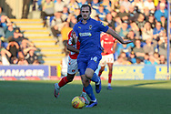 AFC Wimbledon striker James Hanson (18) dribbling during the EFL Sky Bet League 1 match between AFC Wimbledon and Charlton Athletic at the Cherry Red Records Stadium, Kingston, England on 23 February 2019.