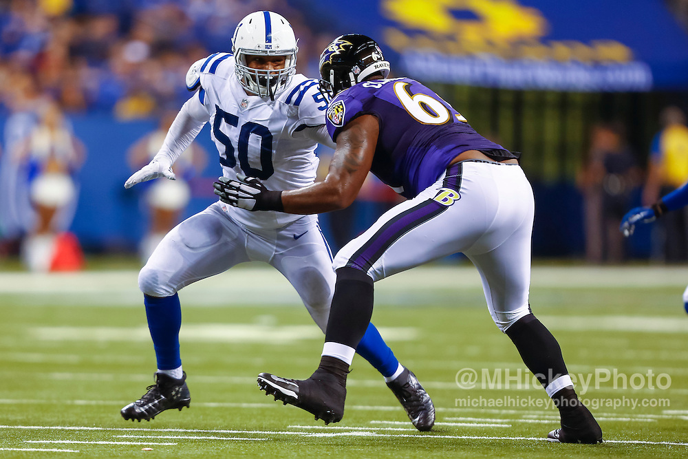 INDIANAPOLIS, IN - AUGUST 20: Trevor Bates #50 of the Indianapolis Colts rushes during the game against the Baltimore Ravens at Lucas Oil Stadium on August 20, 2016 in Indianapolis, Indiana.  (Photo by Michael Hickey/Getty Images) *** Local Caption *** Trevor Bates