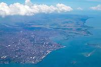 Indonesia, Sulawesi, Makassar. Makassar seen from airplane.