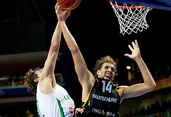 Simas Jasaitis of Lithuania vs Dirk Nowitzki of Germany during basketball game between National basketball teams of Lithuania and Germany at FIBA Europe Eurobasket Lithuania 2011, on September 11, 2011, in Siemens Arena,  Vilnius, Lithuania. Lithuania defeaed Germany 84-75. (Photo by Vid Ponikvar / Sportida)