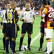 Arbitrators and players during their Turkish Super Cup 2012 soccer derby match Galatasaray between Fenerbahce at the Kazim Karabekir stadium in Erzurum Turkey on Sunday, 12 August 2012. Photo by TURKPIX