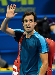 Guido Pella of Argentina waves to fans after losing against Andrey Rublev of Russia in the semi final match of  ATP Qatar Open Tennis match at the Khalifa International Tennis Complex in Doha, capital of Qatar, on January 05, 2018. Andrey Rublev won 2-1  (Credit Image: © Nikku/Xinhua via ZUMA Wire)