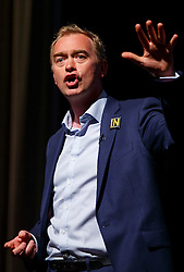 © Licensed to London News Pictures. 07/06/2016. London, UK. Liberal Democrat leader TIM FARRON speaks at a Q&A session with Nick Clegg, Menzies Campbell and Paddy Ashdown on EU referendum in central London on 7 June 2016. Photo credit: Tolga Akmen/LNP