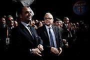 Mario Mauro (centro) con Angelino Alfano durante il congresso nazionale dell' Udc (Unione di Centro) all'Auditorium Conciliazione. Rome, 21 febbraio 2014. Christian Mantuano / OneShot
