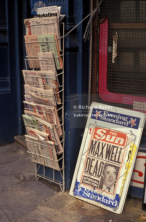 The news that media tycoon Robert maxwell had drowned in the sea is reported in the Sun newspaper, on 6th November 1991, in London, England. In 1991, Maxwell's body was discovered floating in the Atlantic Ocean, having fallen overboard from his yacht.