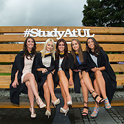 """23.08.2016        <br /> Over 300 students graduated from the Faculty of Arts Humanities and Social Sciences at the University of Limerick today. <br /> <br /> Attending the conferring ceremony were Bachelor of Arts in Law and Accounting graduates, Sarah O'Dea, Kildimo Co. Limerick, Michelle McGrath, Raheen, Co. Limerick, Laura Naughton, Corbally, Limerick, Saidhbhe Flavin, Athea Co. Limerick and Gillian O'Rourke, Ballyclough Co. Limerick. Picture: Alan Place.<br /> <br /> <br /> <br /> <br /> UL Graduates Employability remains consistently high as they are 14% more likely to be employed after Graduation than any other Irish University Graduate<br /> Each year, the Careers Service collects information about the 'First Destinations' of UL graduates. During the April/May period following graduation, we survey those who have completed full-time undergraduate and postgraduate courses for details on their current status. This current survey was conducted nine months after graduation and focuses on the employment and further study patterns of the graduates of 2015. A total of 2,933 graduates were surveyed and a response rate of 87% was achieved. <br /> As the University of Limerick commences four days of conferring ceremonies which will see 2568 students graduate, including 50 PhD graduates, UL President, Professor Don Barry highlighted the continued demand for UL graduates by employers; """"Traditionally UL's Graduate Employment figures trend well above the national average. Despite the challenging environment, UL's graduate employment rate for 2015 primary degree-holders is now 14% higher than the HEA's most recently-available national average figure which is 58% for 2014"""". The survey of UL's 2015 graduates showed that 92% are either employed or pursuing further study."""" Picture: Alan Place"""