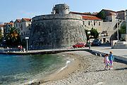 Small (Mala Knezeva Kula) and Large (Velika Knezeva Kula) Prince's or Governor's towers, Korcula old town, island of Korcula, Croatia.