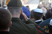 Soldier salutes at The 2008 Veterans Day  Ceremonies at the Intrepid Sea, Air, & Space Musem on November 11, 2008 in NYC