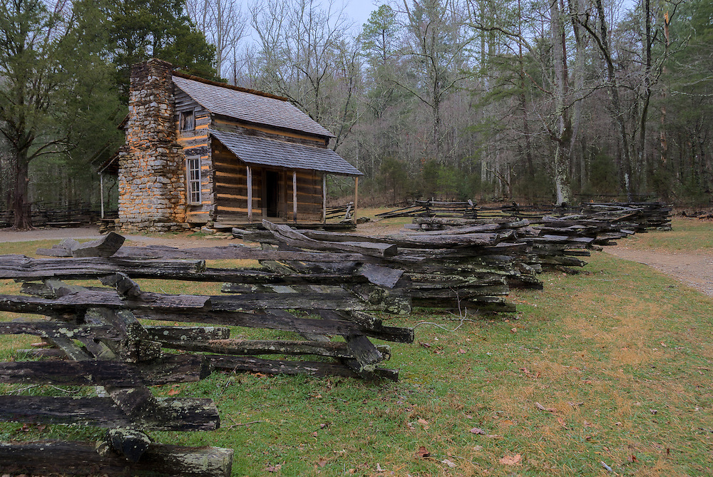 View of the famous John Oliver Place in Cades Cove Loop Road in the Great Smoky Mountains National Park