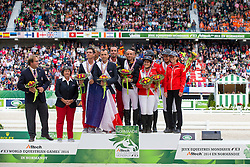 Podium Team Test 1. Spain, 2. France, 3. Switzerland - Endurance - Alltech FEI World Equestrian Games™ 2014 - Normandy, France.<br /> © Hippo Foto Team - Dirk Caremans<br /> 29/08/14
