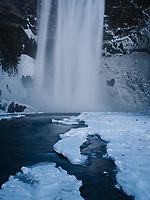 Skógafoss waterfall in winter. South Iceland.