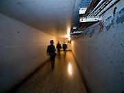 Visitors in a tunnel leading from the headquater underground to the Honecker Bunker.