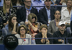 September 6, 2017 - Flushing Meadows, New York, U.S - Mirka Federer (C), back row (L-R) Bee Shaffer, Anna Wintour react to a play  on Day Ten of the 2017 US Open by Roger Federer during his match with Juan Martin del Potro at the USTA Billie Jean King National Tennis Center on Wednesday September 5, 2017 in the Flushing neighborhood of the Queens borough of New York City. Del Potro defeats Federer, 7-5, 3-6, 7-6(10-8), 6-4. JAVIER ROJAS/Pi (Credit Image: © Prensa Internacional via ZUMA Wire)