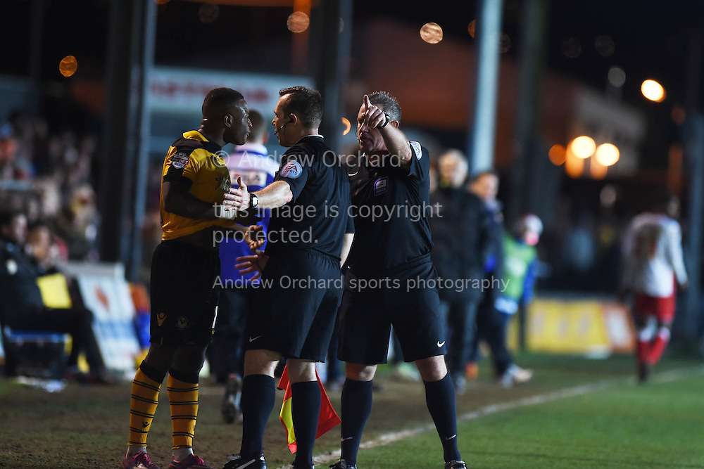 Newport county's Aaron O'Connor reacts after he is sent off for a bad tackle on Stevenage player Dean Wells. Skybet football league two match, Newport county v Stevenage at Rodney Parade in Newport, South Wales on Saturday 13th December 2014<br /> pic by Andrew Orchard, Andrew Orchard sports photography.