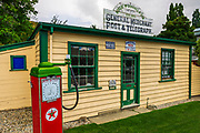 Historic gas pump and store at the Cardrona Hotel, Cardrona, Central Otago, South Island, New Zealand