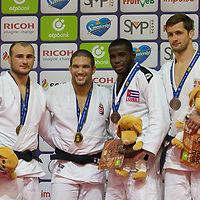 Gold medalist Krisztian Toth (2nd L) of Hungary, silver medalist Ushangi Margiani (L) of Georgia with bronze medalists Aleksandar Kukolj (R) of Serbia and Ivan Felipe Silva Morales (2nd R) of Cuba celebrate their victory during an awards ceremony after the Men -90 kg category at the Judo Grand Prix Budapest 2018 international judo tournament held in Budapest, Hungary on Aug. 12, 2018. ATTILA VOLGYI