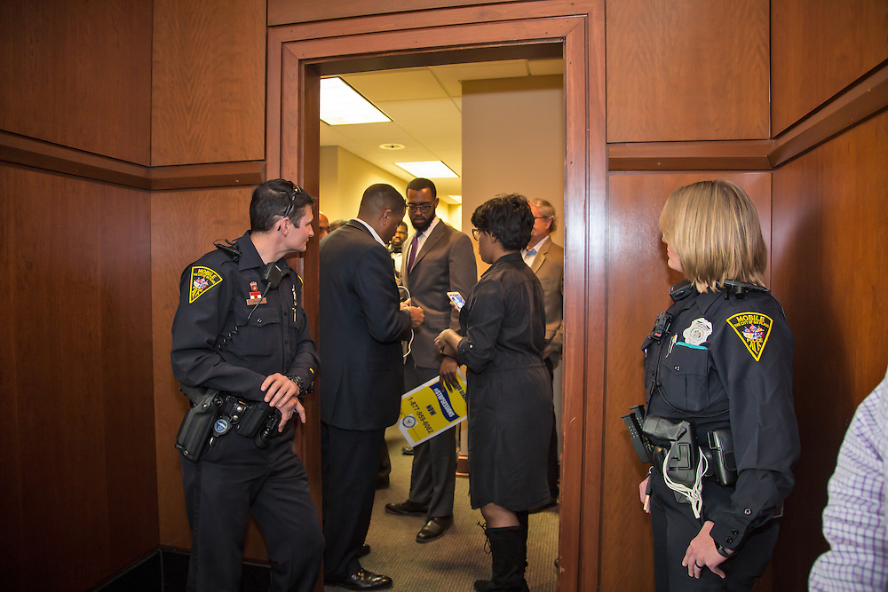 Police come to remove protesters from the NAACP and their supporters from a sit-in held led by NAACP President, Cornell William Brooks the day before a vote on Sessions took place.