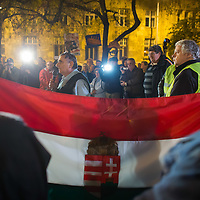 Protester talks during a demonstration against government corruption in Budapest, Hungary on November 08, 2014. ATTILA VOLGYI