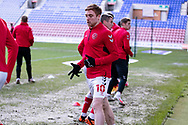 Fleetwood Town midfielder Callum Camps(10)warming up before during the EFL Sky Bet League 1 match between Wigan Athletic and Fleetwood Town at the DW Stadium, Wigan, England on 23 January 2021.